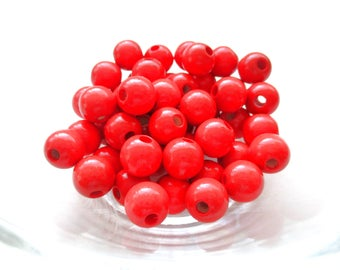 50 wooden pacifier 10mm - red beads