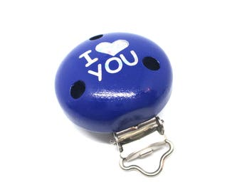 Wooden clip I Love You - Navy Blue