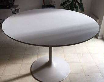CHRISTMAS SALE Vintage Mid Century Modern White Steel Saarinen Style Dining Table  Base With White