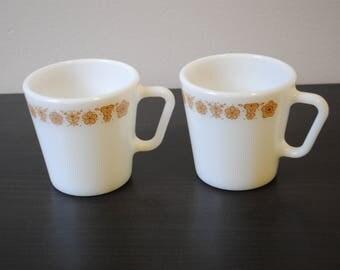 2 Pyrex mugs,  Gold butterfly