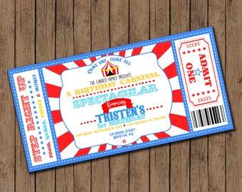 Carnival themed birthday invitations - 25 printed