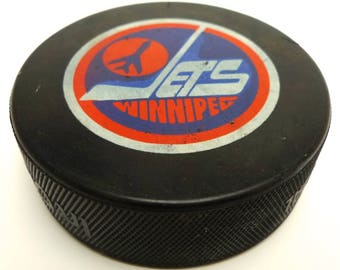 Vintage WINNIPEG JETS NHL Official Hockey Puck Made in Canada Old Logo Inglasco
