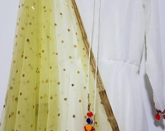 Light Yellow Gold Sequins Embroidered net dupatta (scarf), bridal wear, party wear, suit, lehenga, anarkali