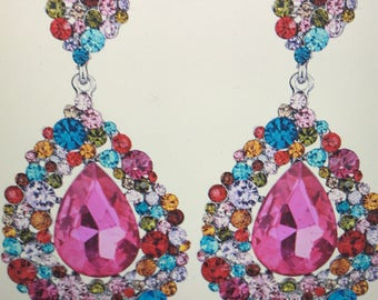 Big Drop Crystal Chandelier Earrings Pierced