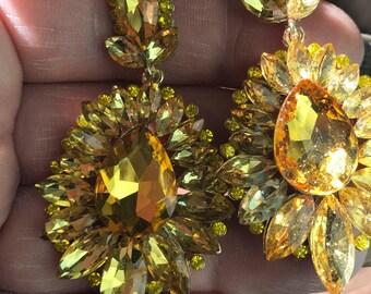 Canary Yellow Austrian Crystal Chandelier Earrings