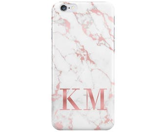 Personalised Name initials White Rose Gold Marble Phone Case Cover for Apple iPhone 6 6s 7 8 10 X Plus & Samsung Galaxy Customized Monogram