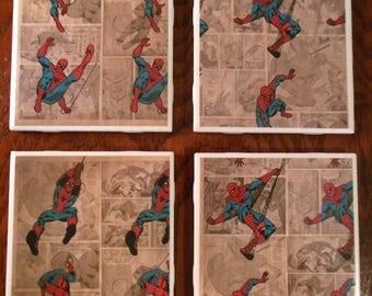 Coasters Spiderman Marvel Comics Spider Web Cartoon Ceramic Cup Holders Barware Drinks Furniture Protect Gifts Super Hero