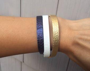 Boho Leather Wrap Bracelet, Metallic Blue, White and Gold Leather Wrap Bracelet, Leather Bracelet, Leather Wrap, Everyday Bracelet