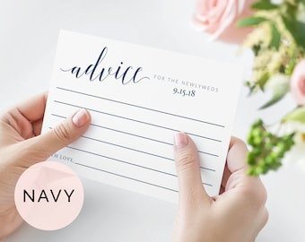 Navy Advice For the Bride And Groom Template, Advice Cards Bridal Shower, Advice Cards Wedding, Printable Advice Cards, Marriage Advice