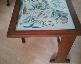 Vintage Wood Folding Table With Glass Top Covering Tapestry