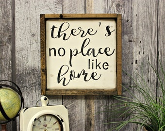 There's No Place Like Home. Farmhouse Style. Farmhouse Decor. Country Decor. Home Decor. Rustic Decor. Wood Sign. Wall Decor.