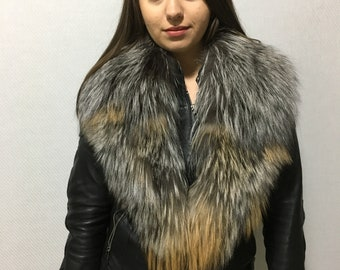 Genuine Real Silver gold  Fur Collar