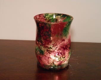 Hand stained / painted candle holder Christmas Red Green White One of a Kind OOAK Glows Beautiful