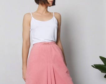 PLEATED MIDI SKIRT, a-line skirt, suede skirt, skirt with pockets, high waisted skirt, faux suede, long pleated skirt