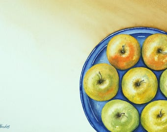 """Apples on a table, Original Watercolor Painting, Wall Decor, Print, Size: 36 x 48cm (14,2"""" x 18,9"""")"""