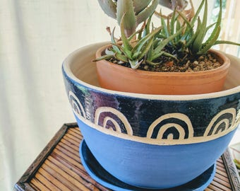 Blue and White arches Planter