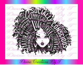 Afro Queen  2 (Outline)  SVG, EPS, DXF