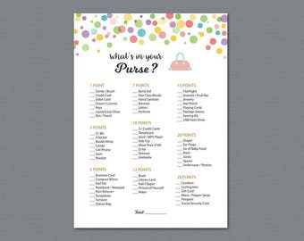 Rainbow Whats in Your Purse, Baby Shower Games Printable, Color Polka Dots, Confetti, Purse Raid, Purse Hunt, What's In Your Bag, B010