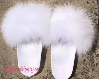 White Nike Fox fur slide slippers