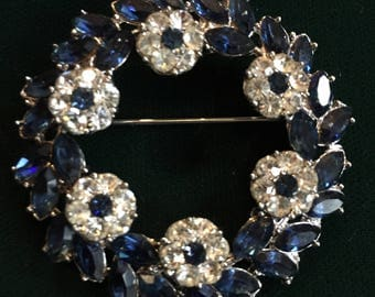 Vintage Crown Trifari ~ 1961 RHINESTONE and SAPPHIRE Circular Brooch/Pin~ Silver Tone