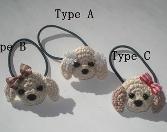 Crochet Puppy Hair Tie, Amigurumi  Hair Tie, Hair tie for  Kids and Young Girls, gift for girls, kids hair accessories, ponytail holder