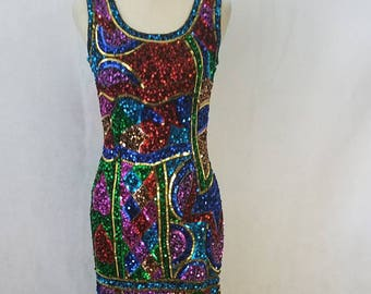Gorgeous fully Sequined Rainbow Vintage Dress
