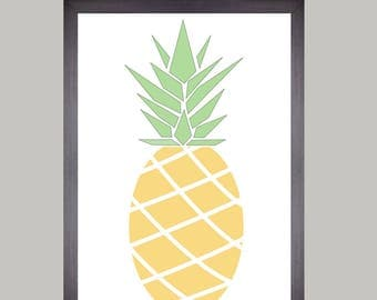 Illustration, A4 poster, yellow pineapple