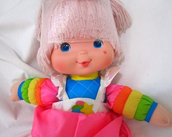 "Vintage Rainbow Brite Tickled Pink Doll Baby 15"" Hallmark 1983 80s Plush Original Dress Bright Pink Hair"