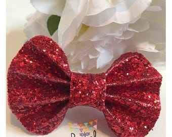 Red Glitter Pinch Bow