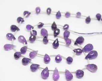 "Purple Amethyst Faceted Briolette Tear Drop Gemstone Loose Craft Beads Strand 16"" 6mm 12mm"