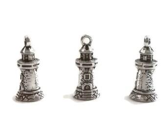 8 3D Lighthouse Charm Pendants Antique Silver Tone, Lighthouse Charm, Nautical Charms, Ocean Charms, Sailor Charm, USA, 9x20mm C143