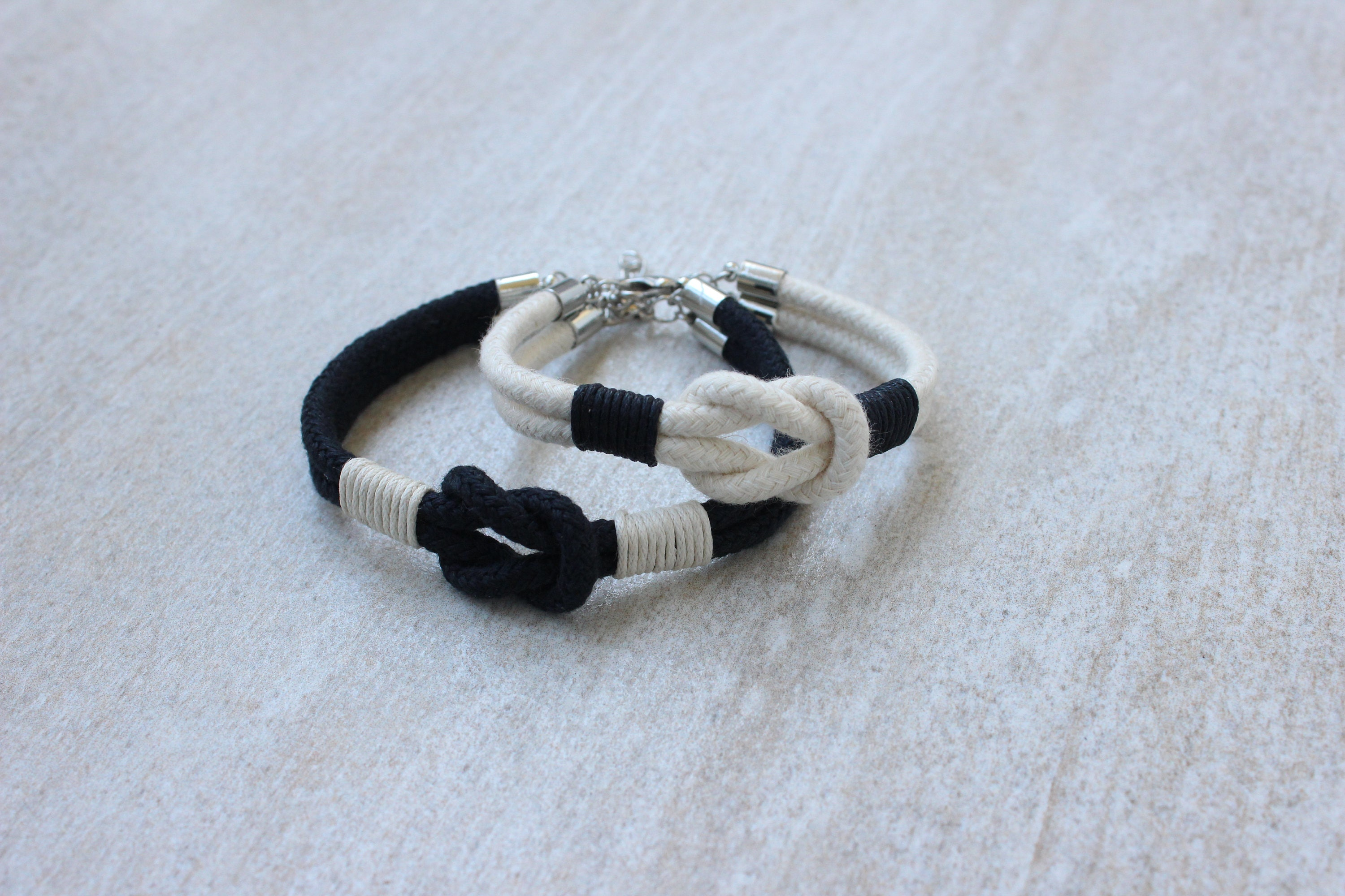 Long distance relationship bracelet his and her bracelet cotton