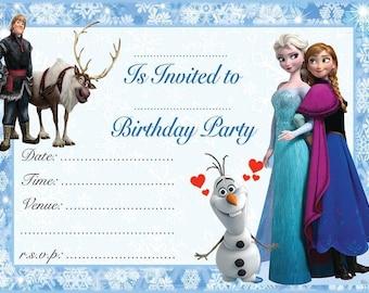 Frozen Elsa & Anna A6 Children's Birthday Party Invitations
