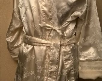 Satin and lace dressing gown