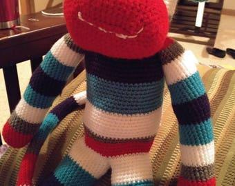 """18"""" Crochet sock monkey."""