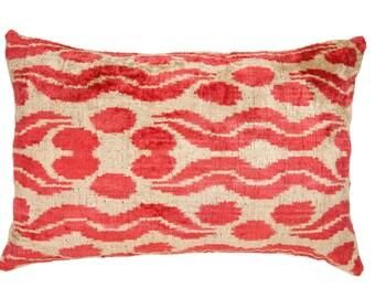 ruby ikat pillowruby pink velvet pillow ruby