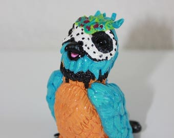 Polly the parrot, handmade polymer clay figurine