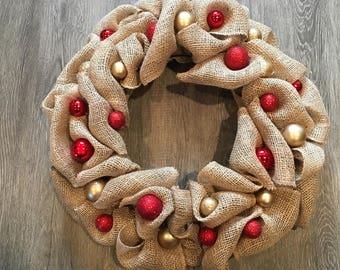 Beautiful Handmade Burlap Christmas Wreath