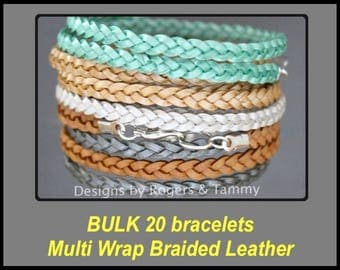 BULK 20 Boho LEATHER Wrap Bracelets - Double or Triple Flat Braided Genuine Natural Leather Cord Bangle - Custom Colors and Size - Priority