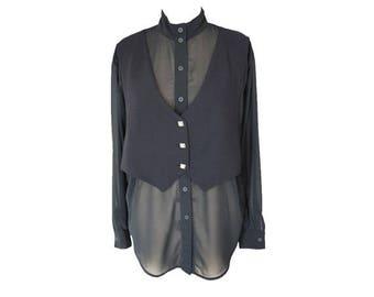 Vintage 90s Oversized Sheer Black Shirt & Vest M