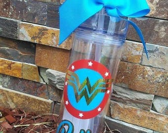 Personalized Water Bottle | Personalized Tumbler | WonderWoman | Customized Water Bottle