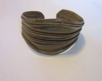 Antique Large Brass Chain Design Cuff Bracelet