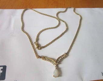 Vintage 14 K Yellow Gold with Diamonds & Fire Opal Pendant and Chain Necklace Beautiful