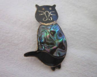 Sterling Silver Enameled & Abalone Sitting Cat Brooch Oh so Cute