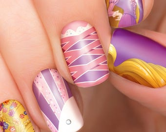 Rapunzel Disney nail transfers - illustrated nail art decals - Tangled Princess  - Disney nail stickers
