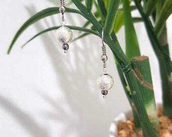 Silver earrings / Shimmering bead / Drop earrings / Silver drop earrings / Elegant earrings / Tiny earrings / Dainty earrings / Gift for her