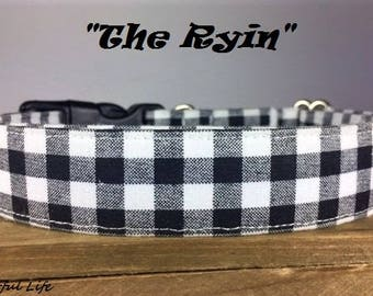"Black and White Gingham Dog Collar - ""The Ryin"""