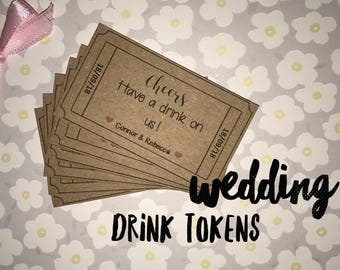 Wedding drink tokens/vouchers for wedding favours