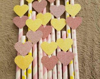 Pink & Yellow Paper Straws