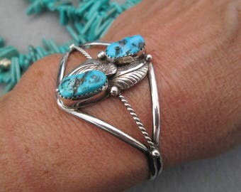Navajo Old Pawn Sterling & Sleeping Beauty Turquoise Cuff Bracelet>> Dainty and so Pretty> Vivid Blue Stones!